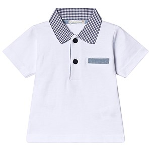 Image of Dr Kid White Polo Top with Gingham Collar 6 months (1249550)