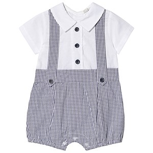 Image of Dr Kid Gingham Shirt Romper Navy/White 1 month (3138206539)