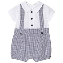 97dfe5460a71 Dr Kid Navy Gingham Dungaree Shirt Romper 295