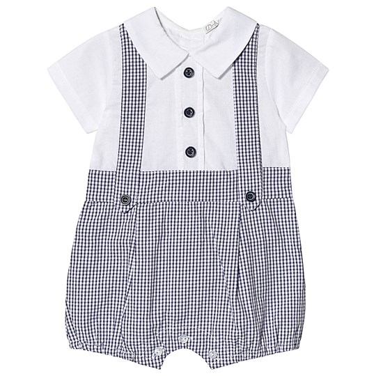 Dr Kid Navy Gingham Dungaree Shirt Romper 295
