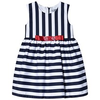 d520437b34ae Dr Kid Navy and White Stripe Dress with Red Bow 280
