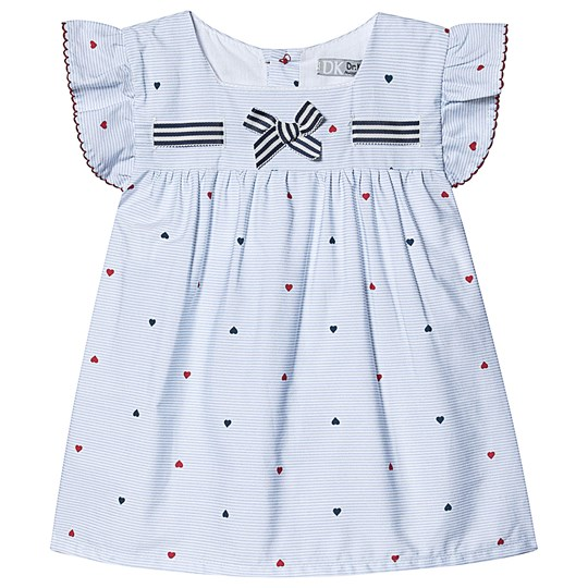 Dr Kid Blue and White Stripe Heart Print with Bow Top 000