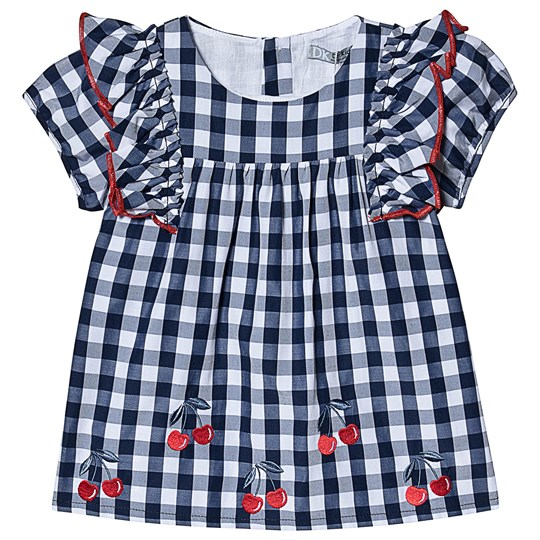 Dr Kid Navy Gingham and Cherry Embroidered Top 295
