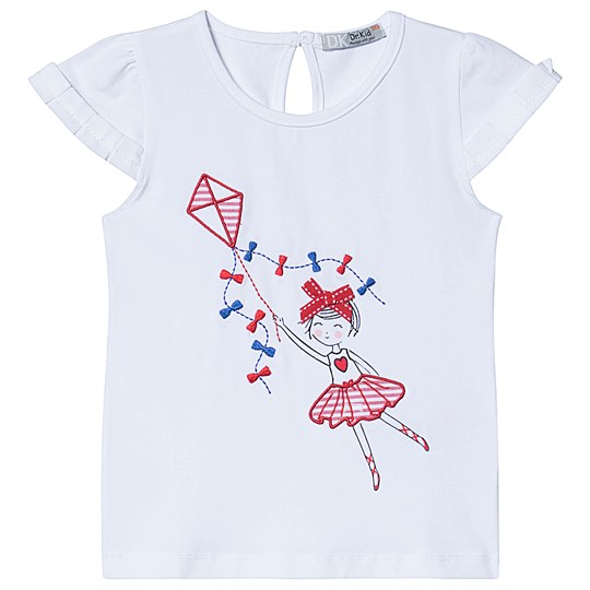 Dr Kid White Girl with Kite Embroidered Tee 160