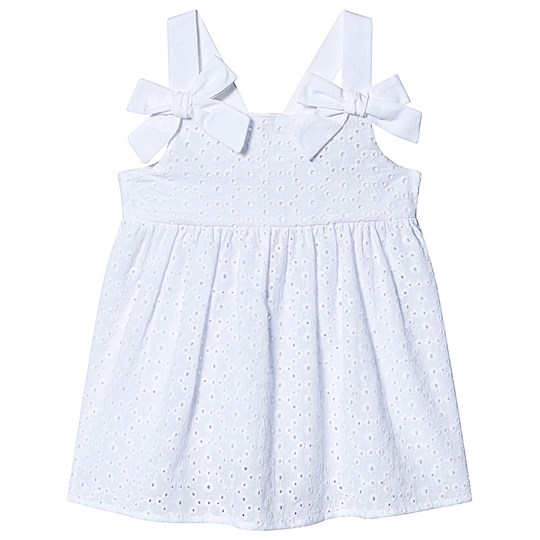 Dr Kid White Broderie Anglais Bow Strap Dress 000