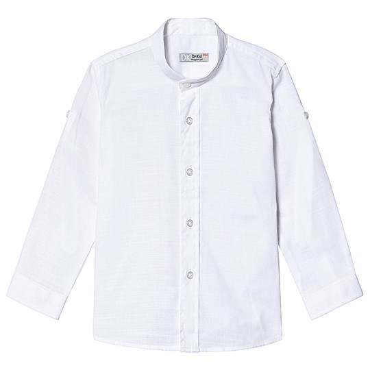 Dr Kid White Cotton Grandad Collar Shirt 000