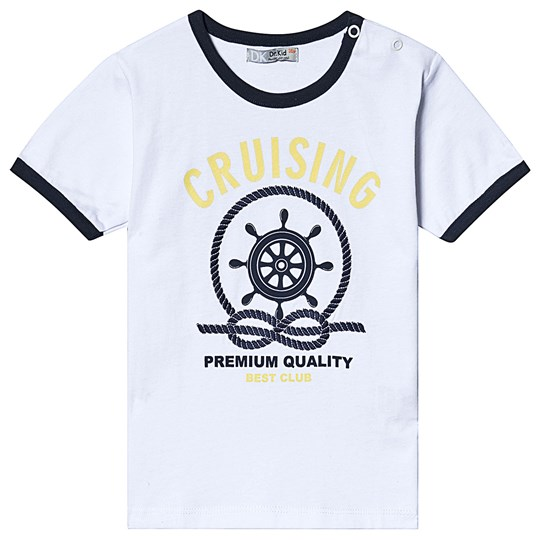 Dr Kid White and Navy Anchor Print Tee 000