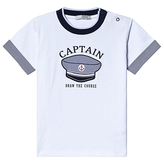 Dr Kid White and Navy Captian Hat Tee 000