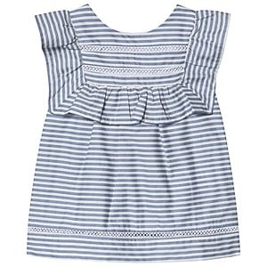 Image of Dr Kid Blue and White Stripe Ruffle Blouse 10 år (1249862)
