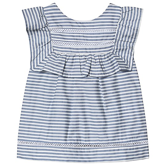 Dr Kid Blue and White Stripe Ruffle Blouse 080