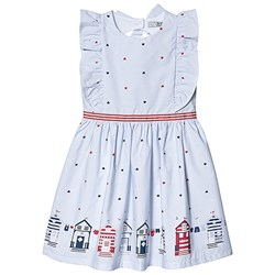 Dr Kid Blue and White Stripe Heart and Home Print Dress