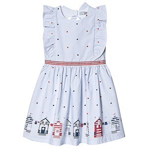 Image of Dr Kid Blue and White Stripe Heart and Home Print Dress 10 years (3138207497)