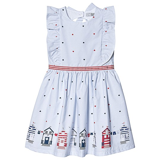 Dr Kid Blue and White Stripe Heart and Home Print Dress 000