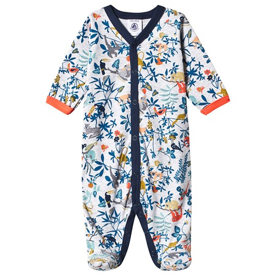 Petit Bateau Footed Baby Body Grå Poussiere/Multico
