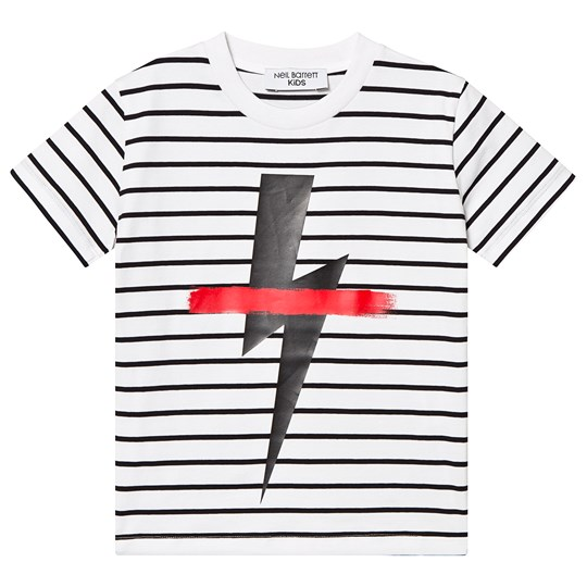 Neil Barrett White and Black Stripe Thunder Bolt Tee 001/´01