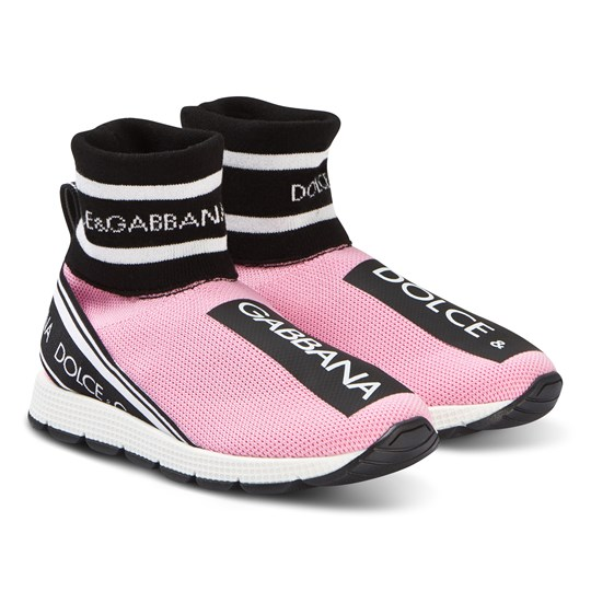 Dolce & Gabbana Pink D&G Strap Mesh Sock Trainers 8B400