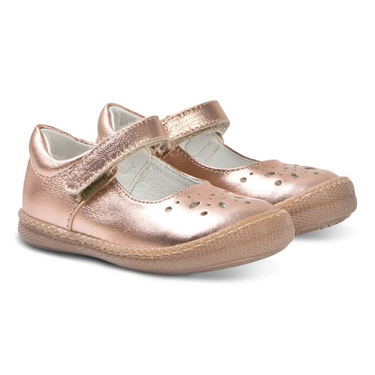 Primigi Rose Gold Brogue Leather Mary Janes Rame