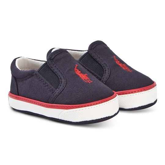 Ralph Lauren Navy Canvas with Red Bal Harbour Slip On Trainers Navy Canvas w/Red PP