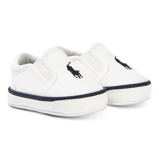 Ralph Lauren White Canvas with Navy Bal Harbour Slip On Trainers White Canvas w/Navy PP