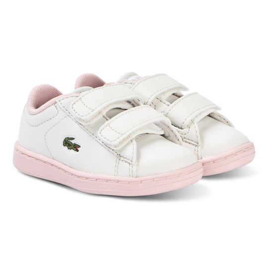 Lacoste White and Pink Carnaby Evo Strap 119 2 Velcro Shoes WHT/LT PNK