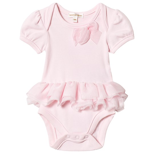 Mintini Baby Pink Tulle Skirt Floral Applique Body Pink