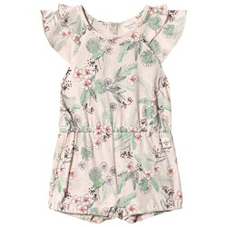 Carrément Beau Multi Floral Print Romper with Ruffle Sleeves