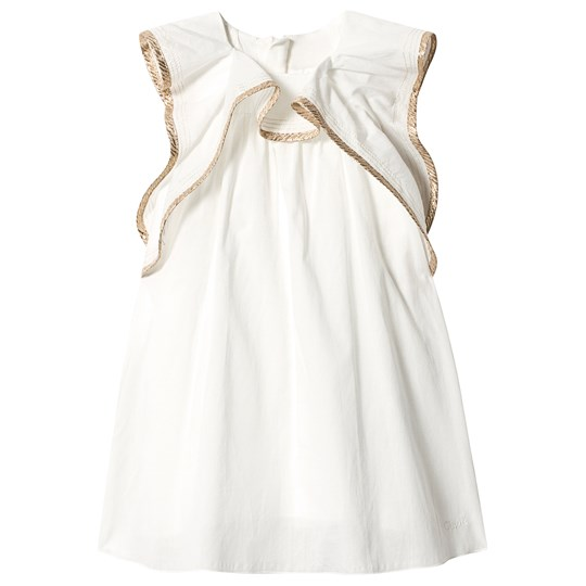 Chloé Off-white Ruffle Dress with Gold Braid Trim 117