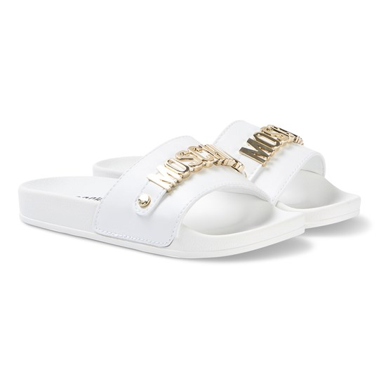 Moschino Kid-Teen White Leather Slides with Gold Lettering 0N01