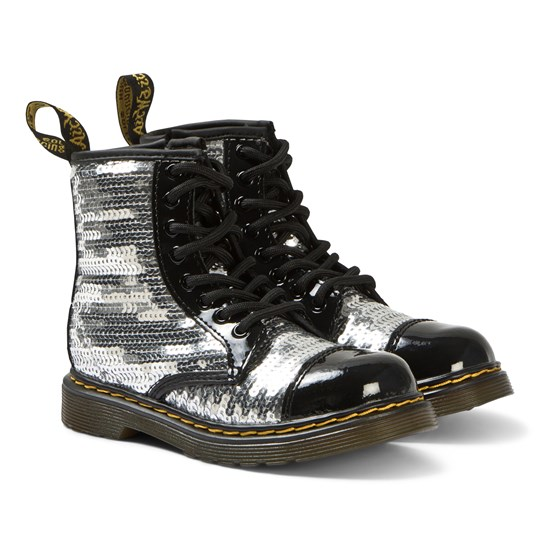 Dr. Martens 1460 Sequin Boots Silver Black