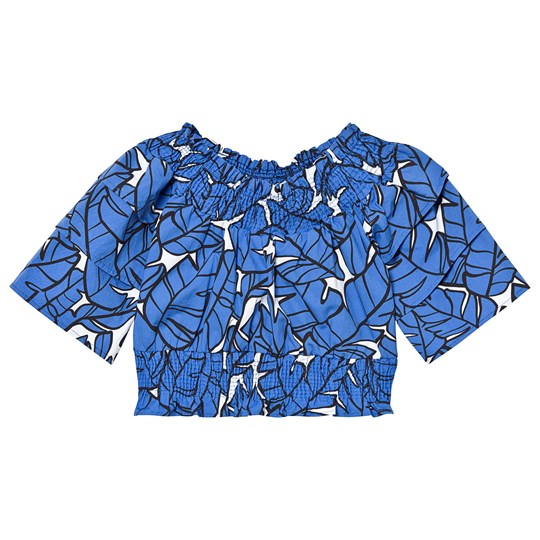 MSGM Blue and White Tropical Print Off The Shoulder Crop Top 130