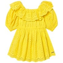 MSGM Yellow Broderie Anglais Ruffle Off The Shoulder Dress 020 f701bbb0f16b9