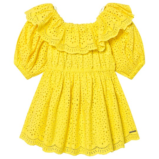 MSGM Yellow Broderie Anglais Ruffle Off The Shoulder Dress 020