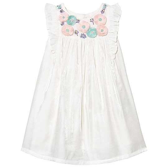 Billieblush Off White Floral Embroidery Frill Detail Gathered Party Dress 121