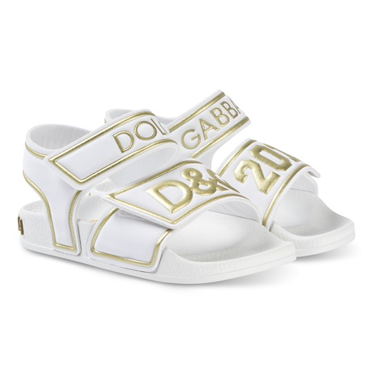 Dolce & Gabbana White and Gold D&G Logo Rubber Sandals 8B996