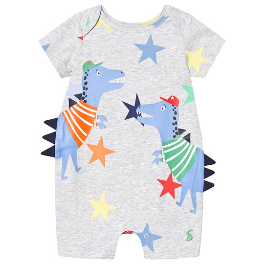 Tom Joule Grey Dino 3D Applique Romper Grey Dino Star Stripe