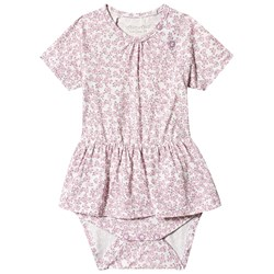 Minymo Floral Dress Baby Body Mauve Mist