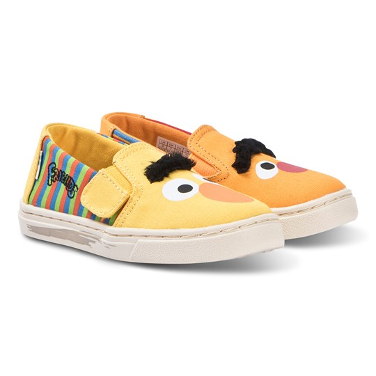 Toms Yellow and Orange Bert and Ernie Slip On Trainerss Yellow