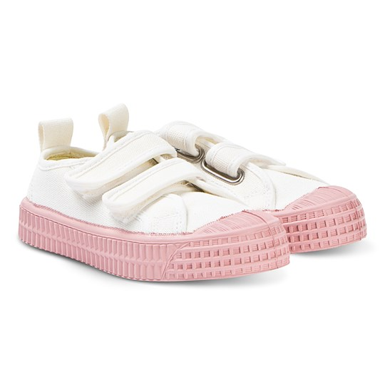 Novesta White and Pink Star Master Velcro Kid Trainers White/Pink