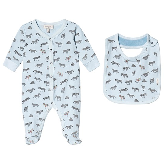 Paul Smith Junior Pale Blue All Over Zebra Print Babygrow and Bib Gift Set 410