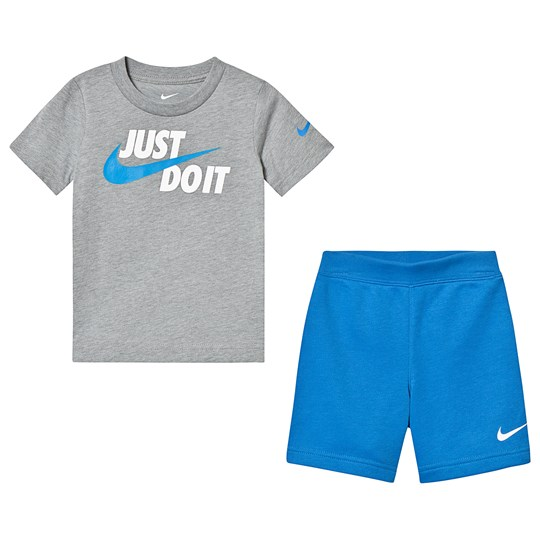 NIKE Grey & Blue Just Do It Tee & Short Set BE1