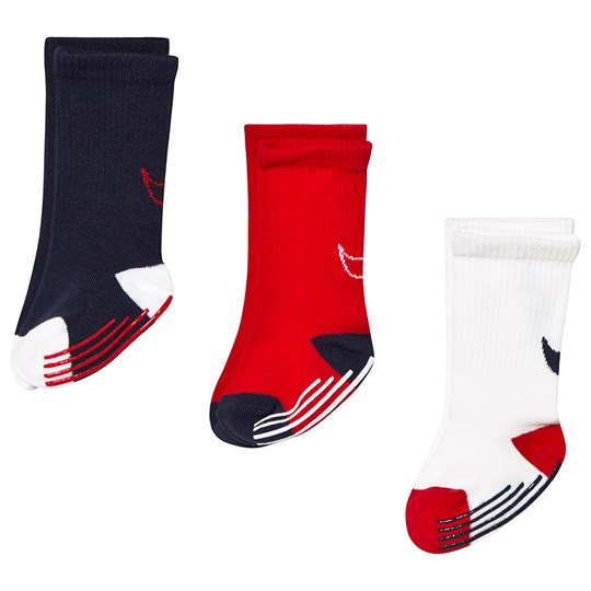 NIKE Red & Navy Pack of 3 Crew Gripper Socks U10