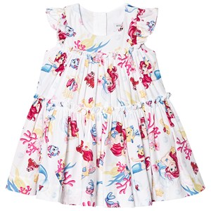 Image of Monnalisa White The Little Mermaid Print Tiered Dress 9 months (1224734)