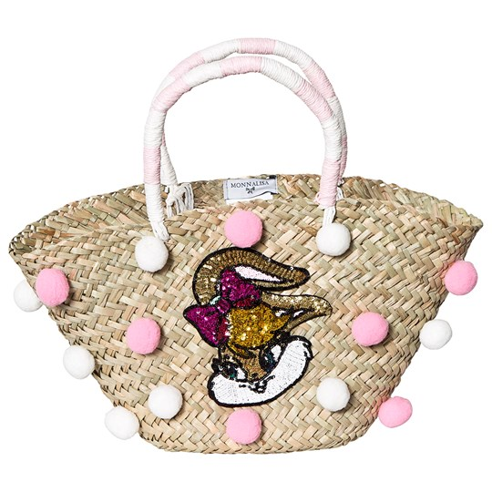 Monnalisa Pink and White Pom Pom Lola Bunny Sequin Applique Straw Bag 0193