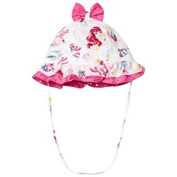 Monnalisa White The Little Mermaid Frill and Bow Sun Hat
