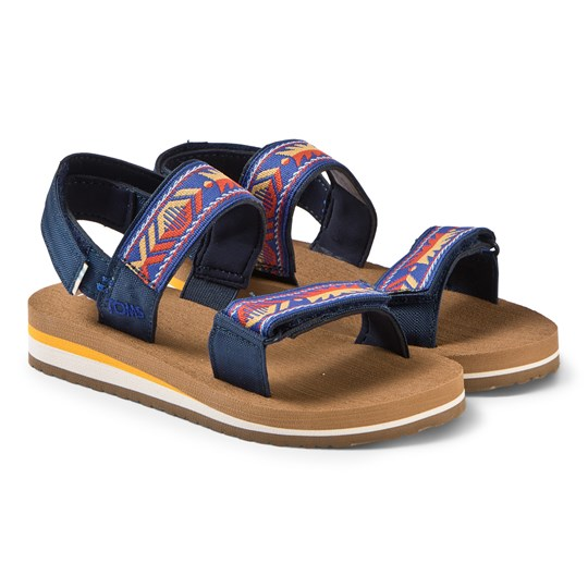 Toms Navy Ray Patterned Velcro Sandals Navy