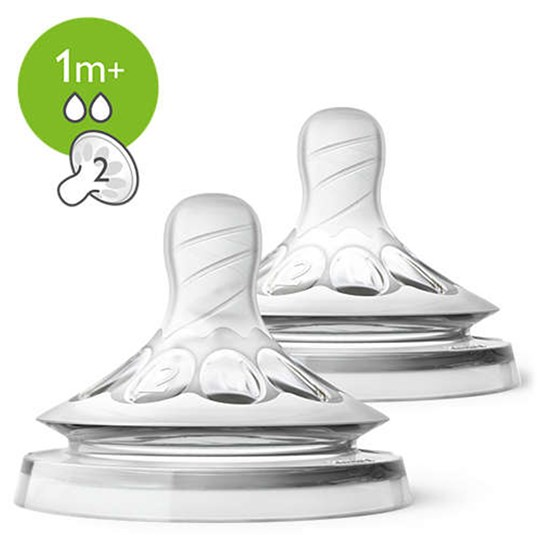 Philips Avent 2-Pack Slow Flow Natural Teats TRANSPARENT