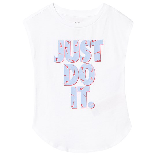 NIKE White with Blue Just Do It Logo Tee 001