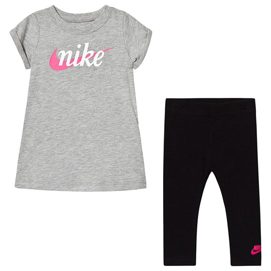 NIKE Grey Branded T-shirt Dress & Black Legging Set 023