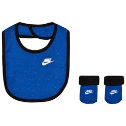 NIKE Blue Branded Multi Coloured Dot Bib & Bootie Set