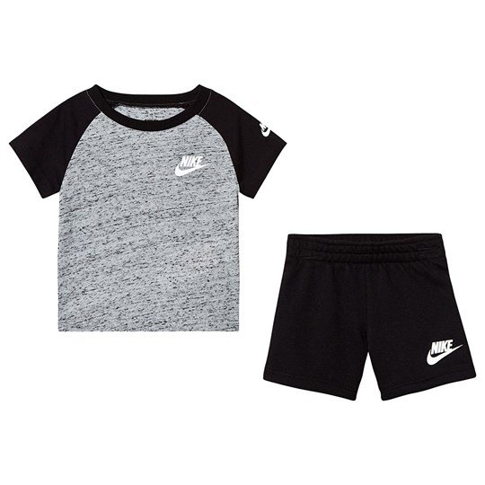 NIKE Black & Grey Branded Tee & Short Set GK6